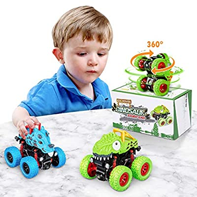 LODBY 2-Pack Doruble-Directions Push and Go Dinosaur Vehicles Toys Sets for Kids from