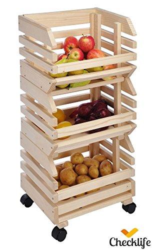 Checklife 903603 Obsthorde 3 Teile Stapelhorde aus massivem Holz