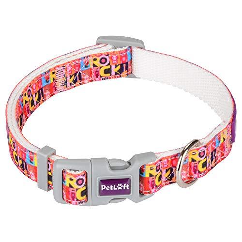 PETLOFT Hundehalsband, Größenverstellbare Hundehalsbänder aus Segeltuch mit Metall-D-Ring zur Befestigung an der Leine (M, Alphabet)