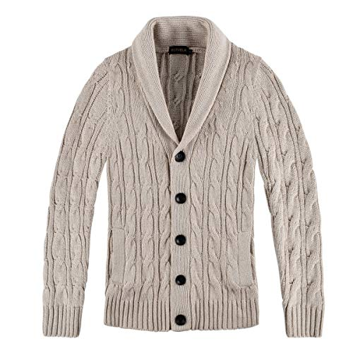 BOTVELA Men's Cable Knit Shawl Collar Casual Cardigan Sweater with Buttons and Pockets (Small, Beige)