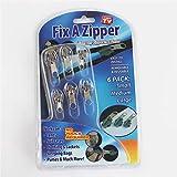 Fix A Zipper Zip Slider Rescue Kit de reemplazo de reparación instantánea Bolsa de tienda Cremallera mágica Fix Clip Rápido Rápido Fácil Fix Herramienta de inicio (Negro (6 piezas))