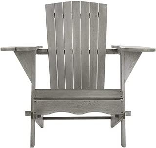 Safavieh PAT7034B-SET2 Outdoor Collection Breetel Grey Wash (Set of 2) Adirondack Chair