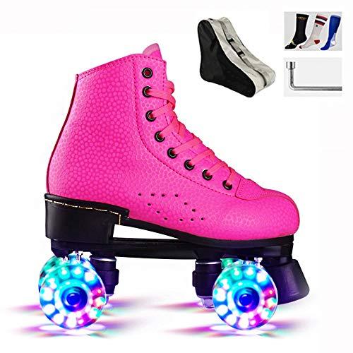 Patines de ruedas brillantes para mujer, zapatos de cuatro ruedas para adultos, con luces LED, 4 ruedas, para principiantes (color: rosa, tamaño: 40)