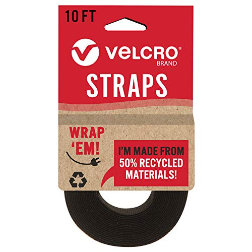VELCRO Brand ECO Collection Cut to Length Straps, Double Sided Roll 10ft x 1in, Sustainable 50% Recycled Material, Black