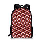HOJJP ñ mochila escolar von ruedas 70th Birthday Decorations Stylish School Bag,Modern Geometric Design Colorful Backdrop Castle Shapes Party for Boys,11''L x 5''W x 17''H