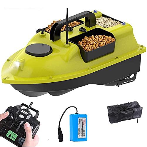 CHEIRS Barco Cebador Carpfishing, RC Barco Cebador Pesca con GPS y Luz LED de Visión Nocturna,Barco Teledirigido de Pesca para Estanques y Lagos,1×5200mAhBattery