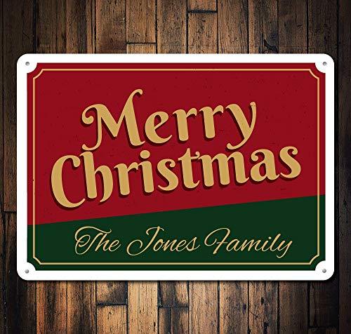 Dozili Weihnachtsschild mit Aufschrift Merry Christmas, personalisierbar, aus Metall, 20,3 x 30,5 cm