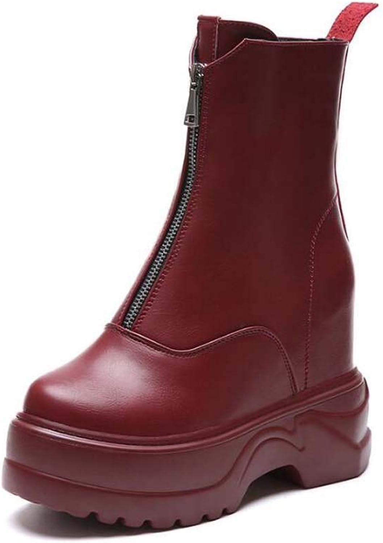 11Cm Wedge Heel Martin Boot Platform shoes Women Fashion Round Toe Splice Zipper Hide Heel Dress Boot Casual Court shoes EU Size 34-40