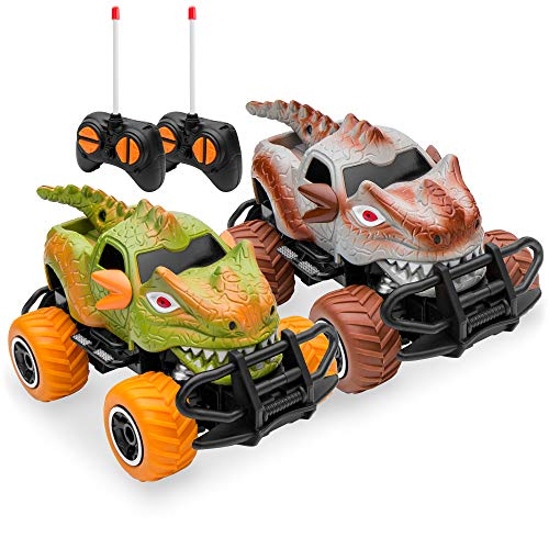 Best Choice Products Set of 2 1/43 Scale 27MHz Dinosaur RC Remote Control Car Toys w/ 9mph Max Speed, 2 Controllers