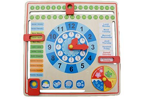 Tooky Toy Calendrier en bois - Jeu d'apprentissage - Jouet éducatif - Jouet pour enfant - Pour apprendre l'heure - Horloge éduactive pour enfant - Jeu d'apprentissage - 30 x 30 x 3,5cm