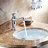 <span class='highlight'>Hiendure</span>® Vintage Style Single Control Rustic <span class='highlight'>Bathroom</span> Tap <span class='highlight'>Mixer</span> Tap, <span class='highlight'>Bathroom</span> Sink Faucet With Porcelain,Chrome