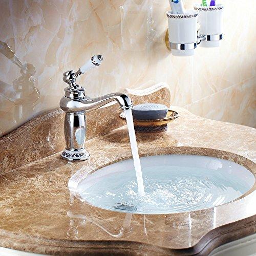 Hiendure Ottone ponte montato alta arco lavabo rubinetto del lavandino bagno cucina ceramica bianca gestire, cromato