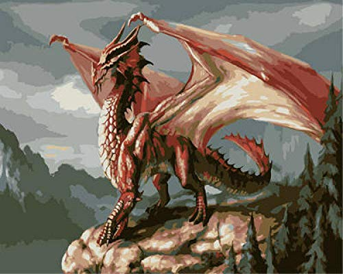 Kit de pintura de diamante por número, pintura de diamante redonda completa para decoración de pared del hogar WM-1793-Red Dragon 2 (40 x 50 cm)
