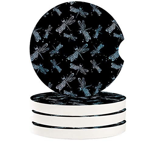 4 Pieces Car Coasters Absorbent Car Cup Holder Coaster for Men Women, Animal Theme Blue Dragonfly Black Background Ceramic Car Cup Pad Mat 2.56' Auto Coasters with A Finger Notch
