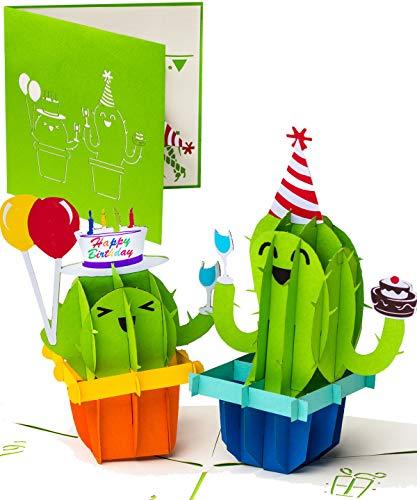 Geburtstagskarte 3D Pop Up Party Kakteen & Luftballons, Popup Karte als Geschenk oder Happy Birthday Card Gutschein, Glückwunschkarte zum Geburtstag, außergewöhnliche Geschenk Karte mit Kaktus