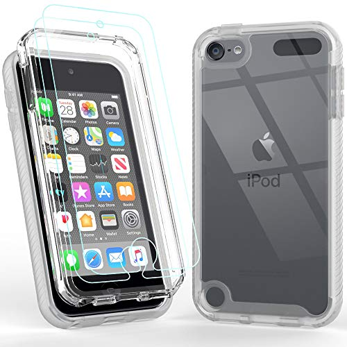 iPod Touch 7 Case with 2 Pack Screen Protector, iPod Touch 6 Case,Cyberowl Armor Shockproof Case Heavy Duty Shock Resistant Hybrid Rugged Cover for Apple iPod Touch 5/6/7th Generation Clear
