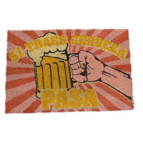 koko doormats Felpudo de Vino y Cerveza para Entrada de Casa Original y Divertido/Fibra Natural de Coco con Base de PVC, 40x60 cm (Si traes Cerveza)