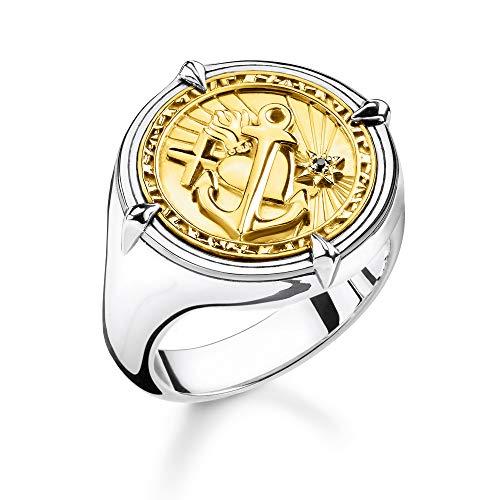 THOMAS SABO Unisex Ring Glaube, Liebe, Hoffnung 925er Sterlingsilber, Geschwärzt; 750er Gelbgold Vergoldung TR2246-849-39