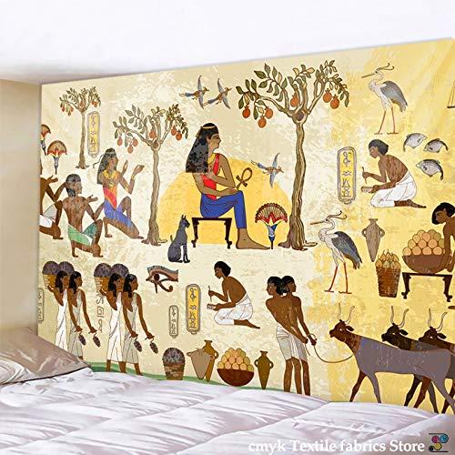 N/A Impresión 3D tapices Amarillo Antiguo Egipto Colgante De Pared Cultura Antigua Impreso Hippie Tapices Egipcios Paño De Pared Decoración del Hogar Vintage