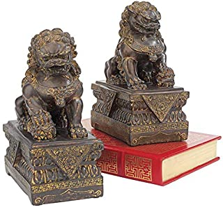 Design Toscano Chinese Guardian Lion Foo Dog Asian Decor Statues, 9 Inch, Set of Two Male and Female, Polyresin, Bronze Finish