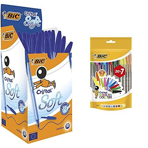 BIC Cristal Soft Bolígrafos Punta Media (1,2 Mm) - Azul + Cristal Multicolour Bolígrafos Punta Ancha (1,6 Mm) – Colores Surtidos, Bolsa De 20+7 Unidades, Ideal Para Dibujos Y Anotaciones