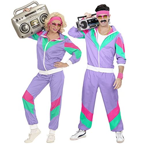 "Adults 80's Shell Suit Jacket & Pants Lilac Costume 80s Retro Fancy Dress Cosplay Outfit Medium 40-42"" chest"