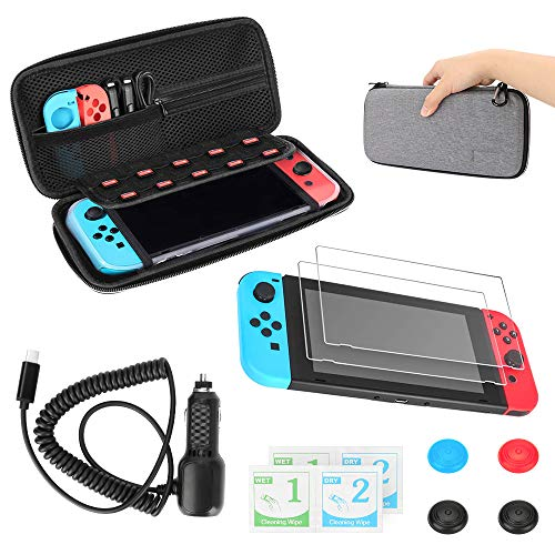 Travel Case Tasche für Nintendo Switch Achort 5 in 1 Zubehör Nintendo Switch Tragetasche mit Hartschalen, Displayschutz, Schutzkappen Auto-Ladegerät mit USB Port für Nintendo Switch Konsole Accesoires
