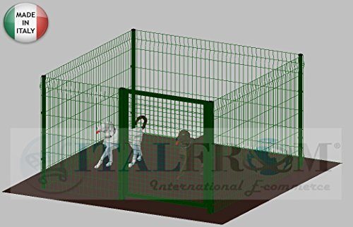 ITALFROM .clôture-Box modulaire pour Chiens en Fer galvanisé et Verni Vert avec poteaux à Enfiler – 200 x 200 x 122 h cm