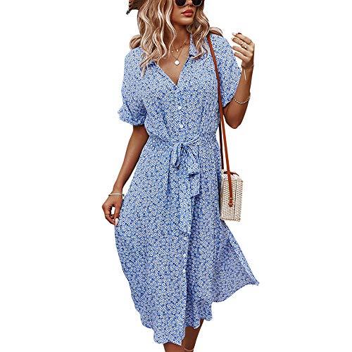 Faldas largas de viscosa para mujer, estilo retro, con cuello en V, manga corta, estampado de un solo pecho, faldas grandes, vestidos de mujer, estilo de ocio y vacaciones, azul, XL