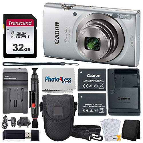 Canon PowerShot ELPH 180 Digital Camera (Silver) + Transcend 32GB Memory Card + Point & Shoot Camera Case + Replacement Battery & Charger + USB Card Reader + Memory Card Wallet + Lens Cleaning Pen