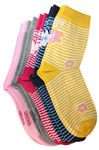Weri Spezials 5-er Kindersocken Set Bunte Blumen Ringel (marine, pink, gelb - Blumen, grau meliert, rosa - Uni) Gr.35-38 (9-10 Jahre)