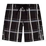 Hurley Boys' Little Classic Board Shorts, Black Plaid, 7