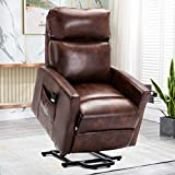 Bonzy Home Power Lift Recliner Chair for Elderly with Remote, 3 Position & Side Pocket, Faux Leather Reclining Chair Home Theater Seating-Red Brown
