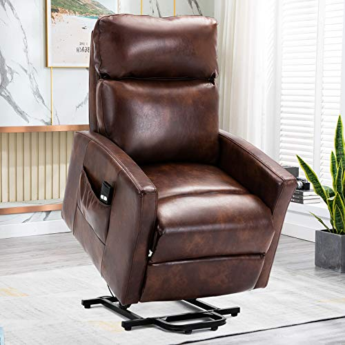 Lift Recliner Chair, Bonzy Home Overstuffed Lift Chairs for Elderly with Remote, 3 Position & Side Pocket, Power Reclining Chair for Living Room Home Theater Seating, Faux Leather, Red Brown