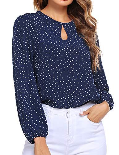 Beyove Damen Keyhole Neck Laterne Ärmel Polka Dot Chiffon Bluse Top Langarmhemd Formal Shirt Business Bluse Elegant Navy Blau M
