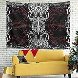 Facbalaign Tapiz de pared vikingo con diseño de cuervos para decoración respetuosa con el medio ambiente, 200 x 150 cm, color blanco