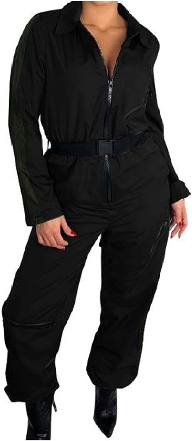 color&W Women's Zipper Pure Long Sleeve Lapel Casual Belted Jumpsuits Rompers