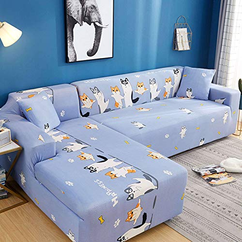 HKPLDE Printed Sofa Cover Stretch Couch Covers Sofa Slipcover for 3 Cushion Couch with 2 Free Pillow Case-J-4 Seater(235-300cm)