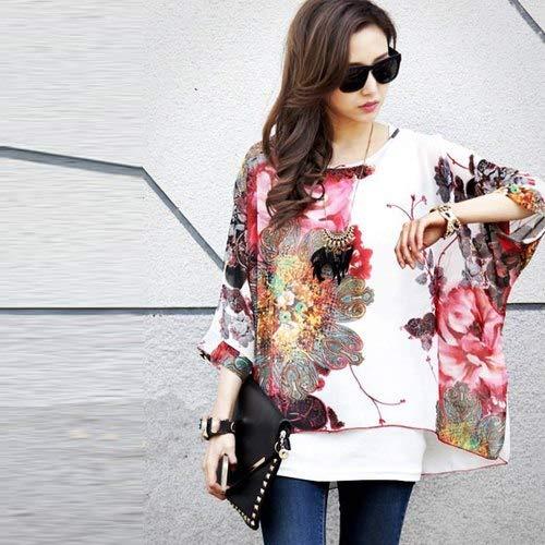 ASGHILL Boho Kleid Damen Chiffon Kleid 4XL 6XL Plus Size Damen Bekleidung Batwing Sleeve Sommerkleider Strandkleid, Bild Farbe, 6XL