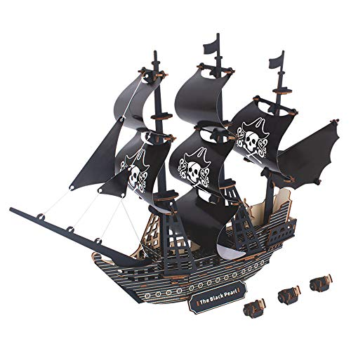 Wooden Black Pearl Pirate Ship 3D DIY Handmade,Jigsaw Puzzle Toy Model Handcraft and Decorative Display,Brain Teasers Hand Craft Kits. Birthday Gift Present for Young Adults Teens(141PCS)
