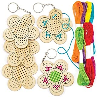 Baker Ross Ltd Wooden Flower Cross Stitch Keyring Kits for Beginners (Pack of 5) Embroidery Set with Thread for Kids