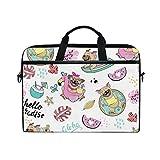 Ahomy - Bolsa para portátil de 13,3 a 14 pulgadas, diseño de hojas, sandía, perro carlino, flamenco, funda portátil con correa ajustable para el hombro