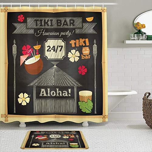 Juegos de Cortinas de baño con alfombras Antideslizantes, Diseño de Cartel de Barra Tiki Tradicional de Hawai con Bebida de Coco y Marco de bambú de Slogan Aloha,con 12 Ganchos