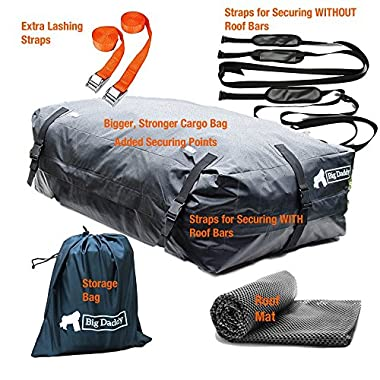 Car Rooftop Cargo Bag V2 By BigDaddy – 400 Litres- For Cars WITH AND WITHOUT ROOF BARS Super Strong and Extra Waterproof Tarpaulin Material –With FREE ROOF MAT, FREE STRAPS x 4 and FREE STORAGE BAG