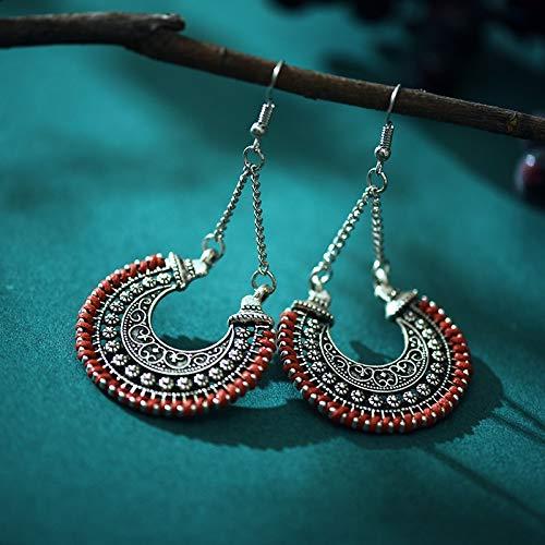 ghn Pendientes de aro con forma de abanico huecos para mujer, estilo...