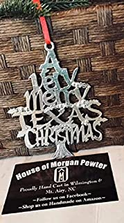 A Very Merry Texas TX Christmas Ornament Pewter