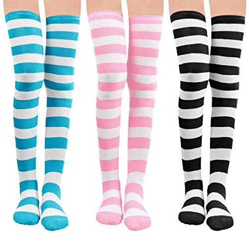 LADES Damen KniestrAmpfe - Overknee StrAmpfe Streifen Lange Socken Retro Knitting StrAmpfe MAdchen Cheerleader Sportsocken, Schwarz-blau-rosa, Durchschnittlicher Code