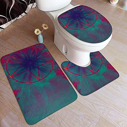 Odelia Palmer Alfombras de baño Conjunto 3 Piezas Diablo con Pentagram Portal al Infierno Antideslizante Absorbente alfombras de baño