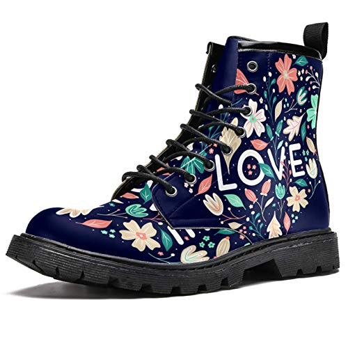 LORVIES - Zapatos de piel con diseño de corazón azul con flores altas para hombre, (multicolor), 46 EU