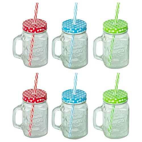 HRB 6er Set Trinkglas mit Strohhalm und Deckel Trinkgläser im Design Vintage, jedes Glas hat EIN Volumen von 400 ml, Gläser Set für Cocktail Lemonade (Vintage)